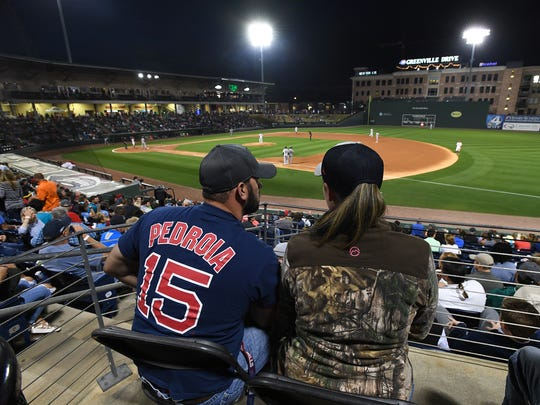 Greenville Drive opening night on Thursday, April 12, 2018 at Fluor Field at The West End.