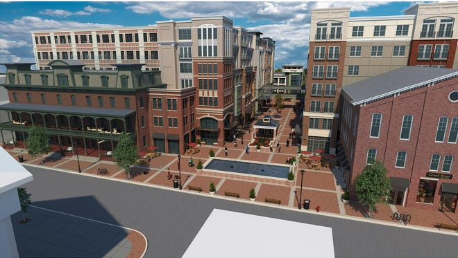This architectural drawing shows the proposed redevelopment of the Union Hotel and neighboring properties in Flemington.