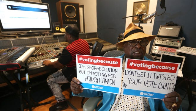 Funk musician George Clinton pauses to make a political message earlier this month in his Tallahassee recording studio.