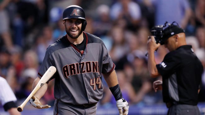 Arizona Diamondbacks' Paul Goldschmidt reacts after being called out on strikes while facing Colorado Rockies starting pitcher Tyler Anderson to end the top of the fifth inning of a baseball game, Saturday, May 6, 2017, in Denver. The Rockies won 9-1.