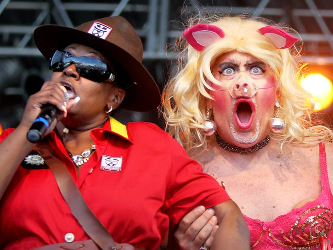 May 12, 2016 - Karen Owens and Jay Hoffman perform at the Ms. Piggie Idol Contest at the Memphis in May World Championship Barbecue Cooking Contest .
