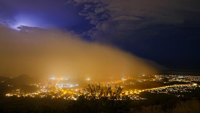 A dust storm covers Ahwatukee on the night of July 16, 2017.