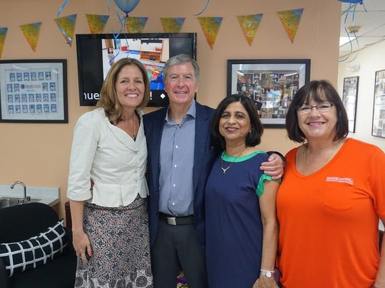Left to right - Kim Toomey, Joe Schumacher (CEO of Goddard Systems, Inc.), Sushama Patil (owner of schools in Dayton and Parsippany, NJ), Margaret Muroni (franchise business consultant for GSI).