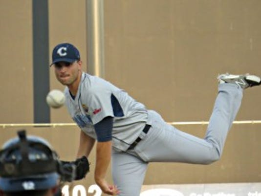 Former Yankees pitcher Steve Garrison, now with the Camden Riversharks, was locked in a pitcher's duel with Sean Bierman on Monday night (Photo: Mike Ashmore)
