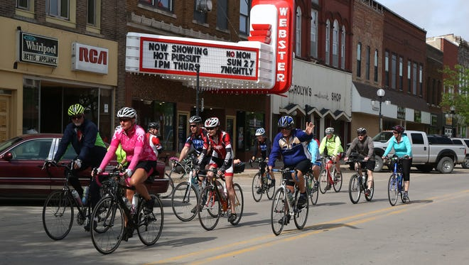 Members of the RAGBRAI preride route inspection team roll out of Webster City during the 2015 RAGBRAI preride on Tuesday, June 2, 2015.