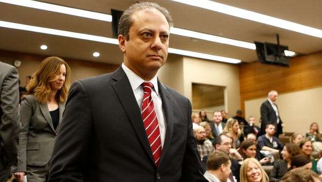 U.S. Attorney for the Southern District of New York, Preet Bharara enters a drug crisis forum at Pace University Law School in White Plains on Thursday, Dec. 1, 2016.