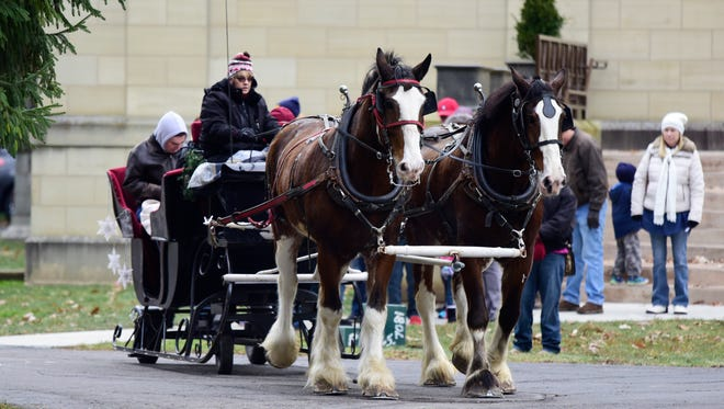 Sleigh rides at the Hayes Presidential Center on Tuesday afternoon.
