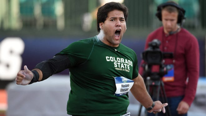 Mostafa Hassan of CSU places third in the shot put at 66-3 (20.19m) during the 2016 NCAA Track and Field championships in Eugene, Oregon.