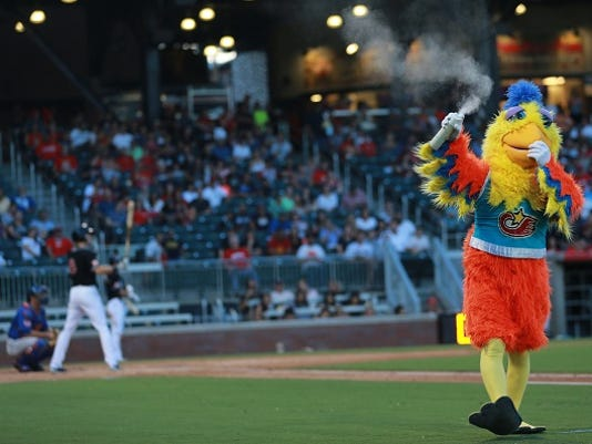 The Famous Chicken sprayed air freshener after an umpire's call which, in his opinion, stunk.