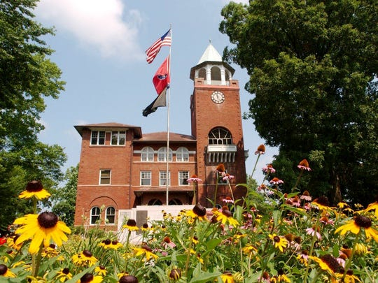 The Rhea County Courthouse in Dayton, Tenn., here July