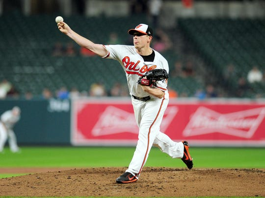 Sep 5, 2017; Baltimore, MD, USA; Baltimore Orioles pitcher Jeremy Hellickson (58) throws a pitch in the second inning against the New York Yankees at Oriole Park at Camden Yards. Mandatory Credit: Evan Habeeb-USA TODAY Sports