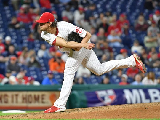 May 8, 2018; Philadelphia, PA, USA; Philadelphia Phillies starting pitcher Aaron Nola (27) follows through on a pitch during the seventh inning against the San Francisco Giants at Citizens Bank Park. Mandatory Credit: Eric Hartline-USA TODAY Sports