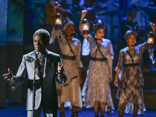 """Andre De Shields and the cast of """"Hadestown"""" perform at the 73rd annual Tony Awards Sunday at Radio City Music Hall. De Shields took the award for featured actor in a musical, and """"Hadestown"""" was the big winner of the evening, winning eight Tonys including best musical."""