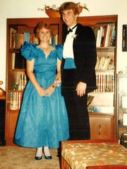 Karen Chicken with her prom date, now her husband.
