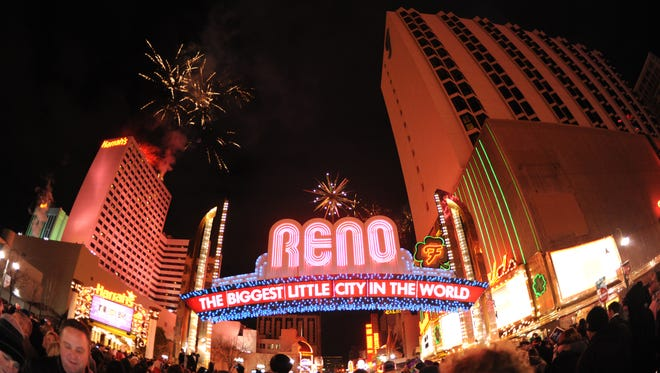 Revelers celebrate the new year in downtown Reno on Dec. 31, 2010.