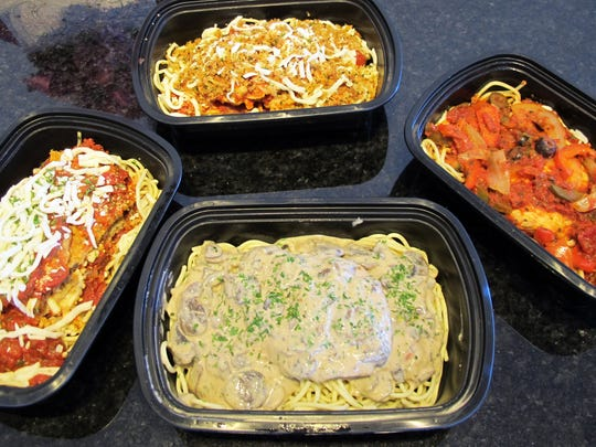 Pasta entrees from Sauce Lady Buffetto include, clockwise from top, chicken Parmesan, chicken cacciatore, chicken Marsala and eggplant Parmesan.