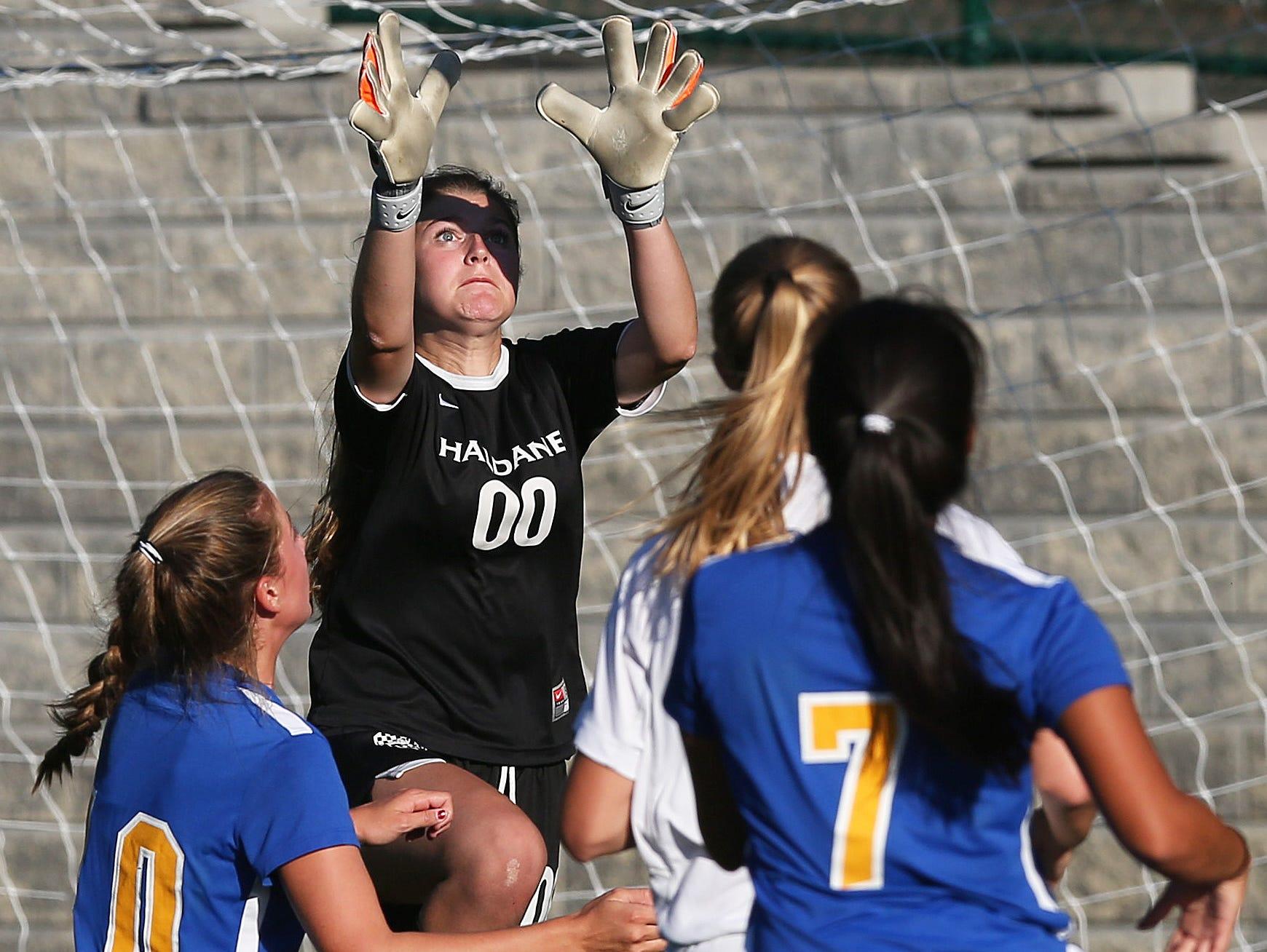 Haldane's goalkeeper Sara Labriola (00) makes a save against North Salem during a girls soccer game at Haldane High School in Cold Spring Sept. 24, 2015. Haldane defeated North Salem 3-1.