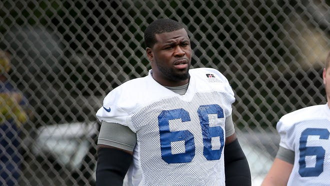 Indianapolis Colts G Donald Thomas (#66) during the second day of Training Camp Friday July 25, 2014, afternoon at Anderson University. Matt Kryger / The Star
