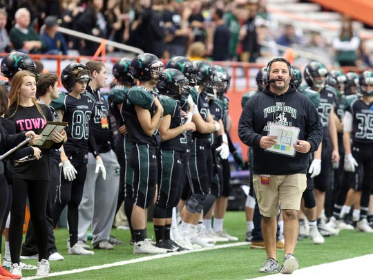 The highlight of Mike Rescigno's 15-year tenure with Yorktown football was an appearance in the 2017 Class A state championship game at the Carrier Dome in Syracuse. Yorktown fell to West Seneca West, 14-6.