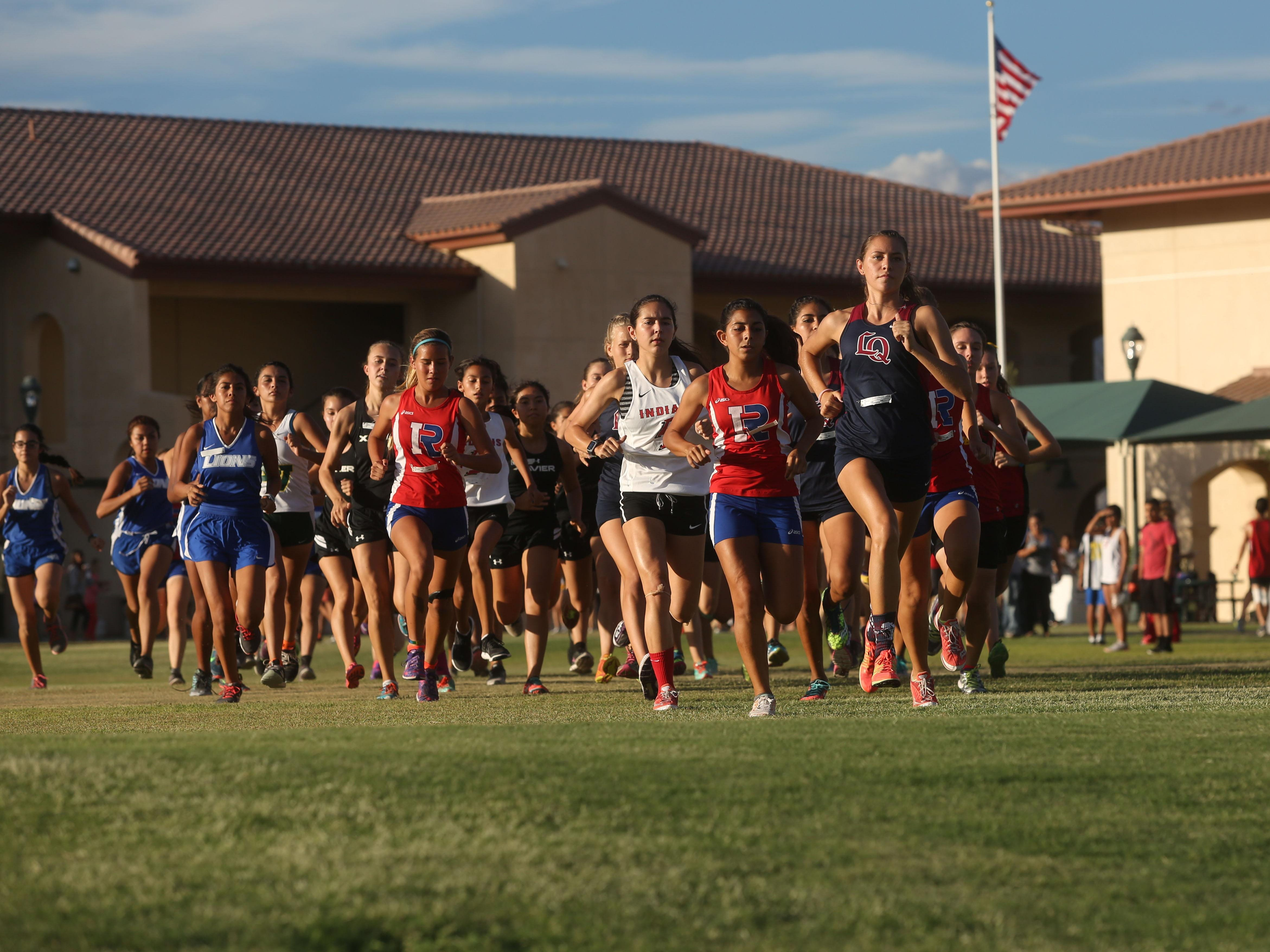 Xavier Prep hosted the DVL cross country meet on October 14, 2015. La Quinta won in the girls division while Indio High School won in the boys.