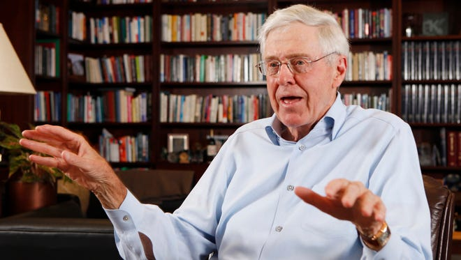 This photo taken May 22, 2012, shows Charles Koch in his office at Koch Industries in Wichita, Kan., where Koch Industries manages 60,000 employees in 60 countries.
