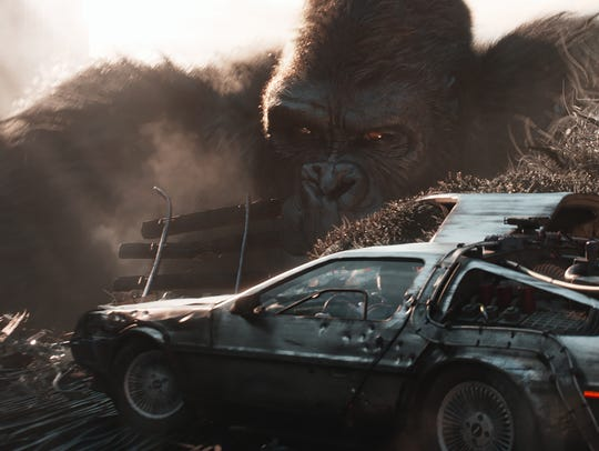 "King Kong and the DeLorean time machine from ""Back to the Future"" make returns in ""Ready Player One."""