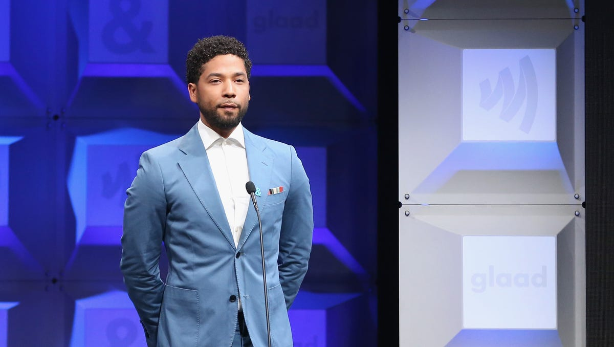 Jussie Smollett introduces a tribute to the LGBTQ community and the Orlando Pulse victims at the 28th Annual GLAAD Media Awards.