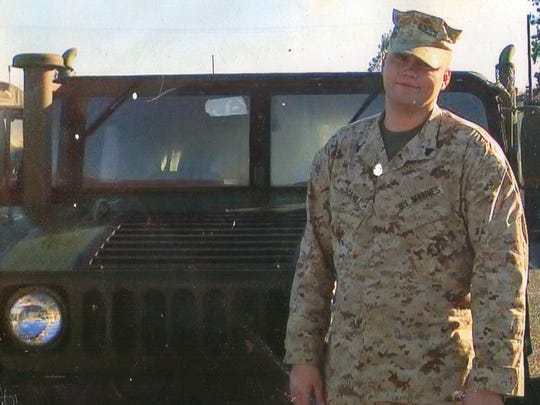 Sgt. Martin Scahill, a Twentynine Palms Marine, poses for a photograph at Camp Pendleton shortly before deploying to Iraq in 2007. Scahill is one of 15 Marines who committed suicide at the Twentynine Palms base between 2007 and 2012.