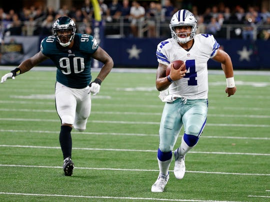 Dak Prescott, a former Mississippi State quarterback, is pictured here for the Dallas Cowboys.