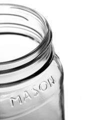 Mason jar for beverages offer a nouveau farm aesthetic.