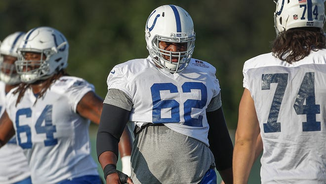 Colts offensive tackle Le'Raven Clark (62) spends his free time building furniture, including all four bed frames for his Indy-area home.