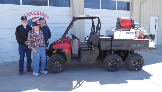 Clarkridge Volunteer Fire Department Commissioners Sid Edelbrock and Roy Nelson, as well as former Fire Chief, Tom Rucker were instrumental in procuring a new 6x6 Polaris Ranger to be used for brush firefighting and remote rescue.