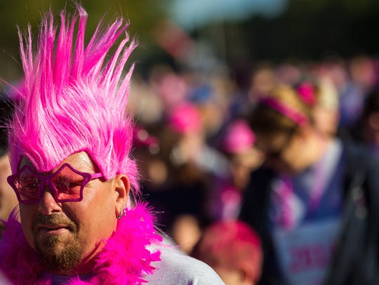 Cape Coral resident Dave Cicchesi sports a pink mohawk