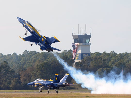 The Blue Angels perform for the crowd during their homecoming air show Saturday, November 11, 2017 at NAS Pensacola.