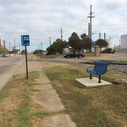 A non-ADA compliant bus stop in Shreveport.