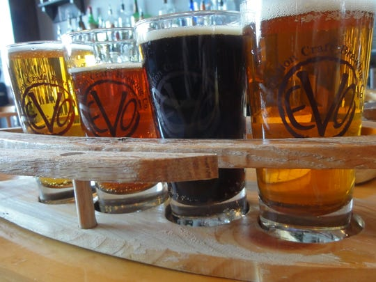 Evolution Craft Brewing Co. has a dozen beers on tap available in its tasting room and restaurant.