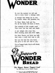 Star Monday, May 23 1921 ad for Taggart's Wonder Bread