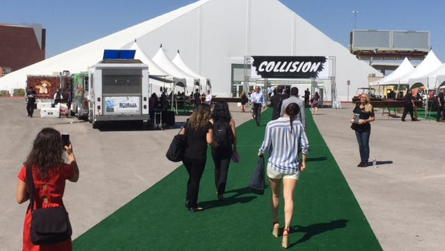 Visitors attend the Collision Conference -- featuring a mix of tech start-ups and investors -- in Las Vegas.
