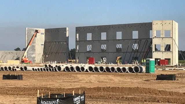 Structural panels have been installed at Southside High School. The school will open in 2017.