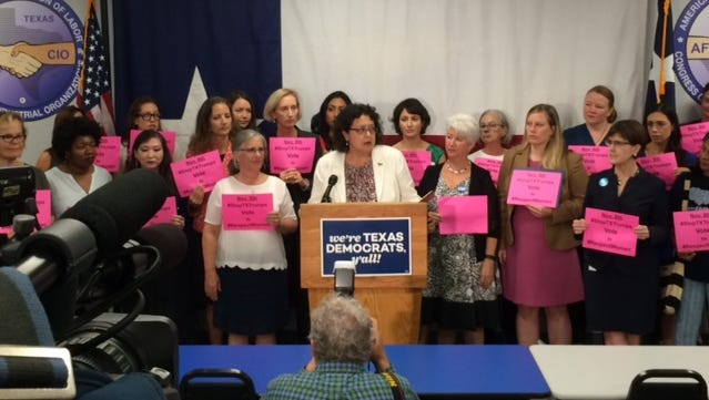 State Rep. Celia Israel joins Democratic women in Austin denouncing the derogatory word used by Sid Miller's Twitter account.