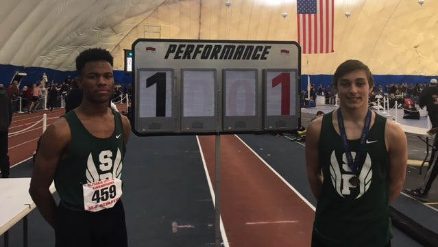 South Plainfield's Marteese Jones (left) and Josh Ward after the indoor track Meet of Champions in Toms River on Feb. 27, 2016.