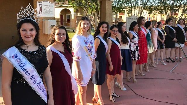 57th Feria de las Flores queen Ariana Jones, left, along with this year's contestants.