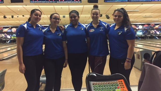 Teaneck girls bowling: (from left) Shayna Jimenez, Mia Aish, Valeria Rosario, Margaux Lesser and Gianni Calzadilla.