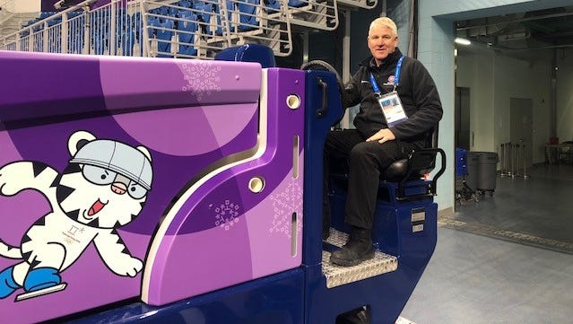 Joe Meierhofer sits behind the wheel of one of the Zambonis that will be used during the 2018 Winter Olympics in PyeongChang, South Korea.