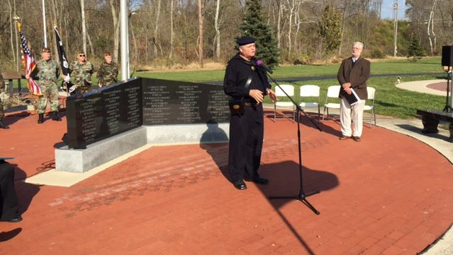 Dennis Rigsby of the Sons of the Union Veterans dedicated the newest memorial, one to those who served in the U.S. Navy, Coast Guard and Merchant Marine, during Tuesday's Veterans Day ceremony at Richmond's Veterans Memorial Park.