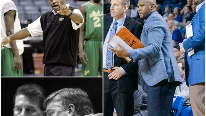 (Top left) Robert McCullum while coaching at USF, (bottom left) former FSU coach Pat Kennedy, (right) Buffalo assistant Lindsey Hunter.