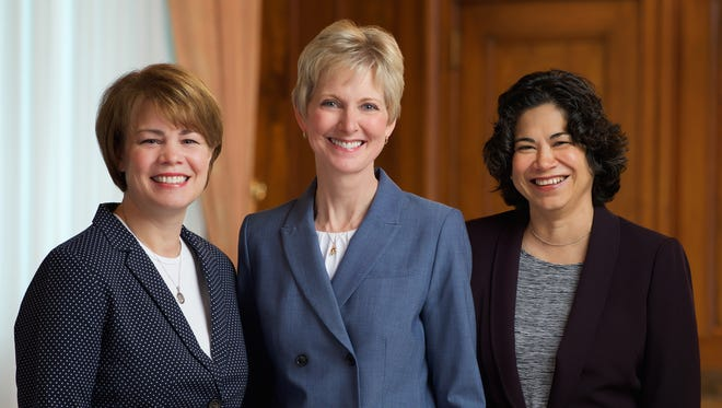Sister Jean B. Bingham, center, will serve as the new general president of the Relief Society for The Church of Jesus Christ of Latter-day Saints. Sister Sharon Eubank, left, and Sister Reyna I. Aburto, right, will serve as her counselors.