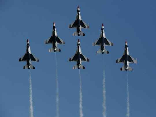 The USAF Thunderbirds thrill the crowd at the Barksdale