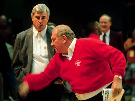Bobby Knight, left, watches UTEP coach Don Haskins clown around before a UTEP-Indiana game on Dec 16, 1989.
