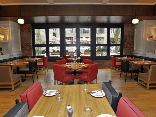 The dining room of Mediterranean restaurant Tre Rivali,